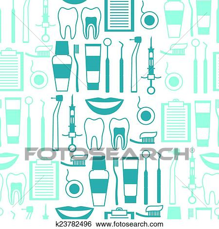Clip Art Of Medical Seamless Pattern With Dental Equipment Icons
