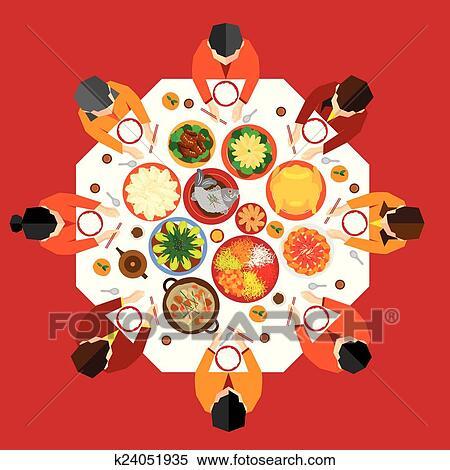 剪贴画 中国的新年, 团聚, 晚餐