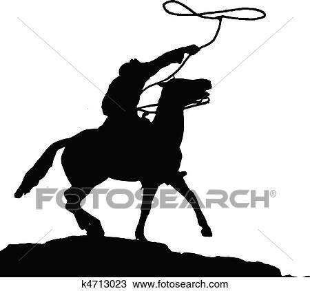Clipart of cowboy vector silhouettes k4713023 - Search Clip Art ...