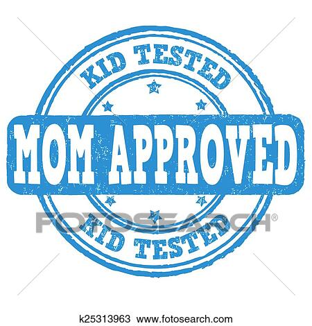 Kid Tested Mom Approved Stamp Stock Vector Art & More Images of ...