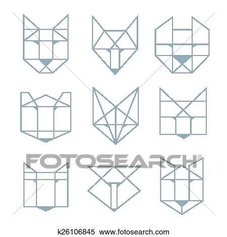 clipart of geometric animals k26106845 search clip art illustration murals drawings and. Black Bedroom Furniture Sets. Home Design Ideas