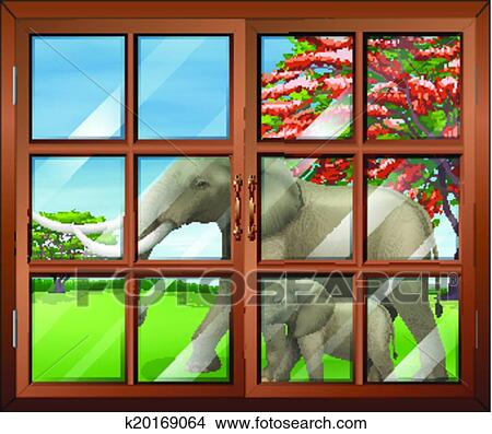 Clipart of A closed window with a view of the two elephants outside