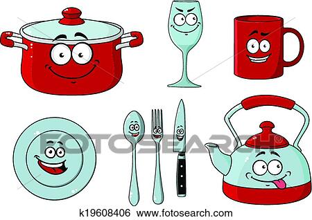 clip art of cartoon dishware and kitchenware set k19608406 knife and fork clipart png masonic knife and fork clipart
