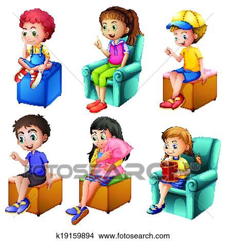 Kinder sitzen im kreis clipart  Clipart - kinder, sitzen k19159894 - Suche Clip Art, Illustration ...