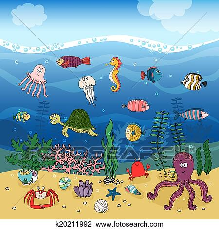 clipart of underwater ocean life under the waves k20211992 search rh fotosearch com ocean sea life clipart Ocean Clip Art