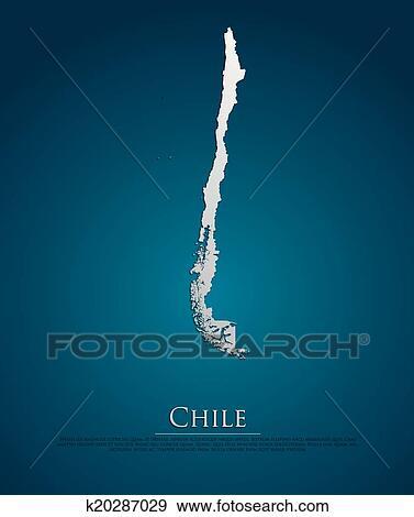 智利, 地图, 卡片, 纸