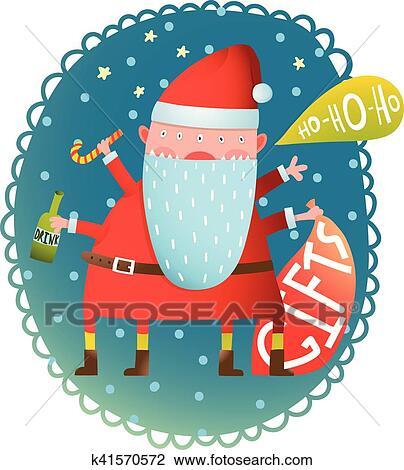 剪贴画 - 快乐, 乐趣, 怪物, 疯狂, 带有礼物的圣诞老人, 同时,, 瓶子图片