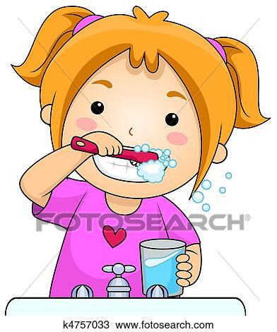 desenho   crian a dentes escovando k4757033   busca de