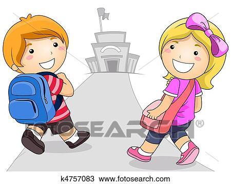 Dibujo - niños, ir al colegio k4757083 - Buscar Clip Art ...