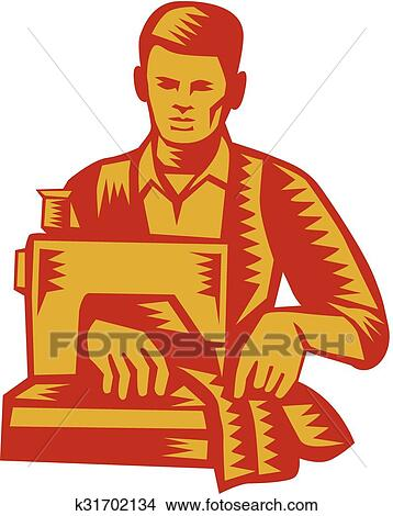 clipart of tailor sewing machine woodcut k31702134