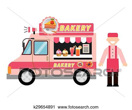 Clipart Of Food Truck Bakery K29654891