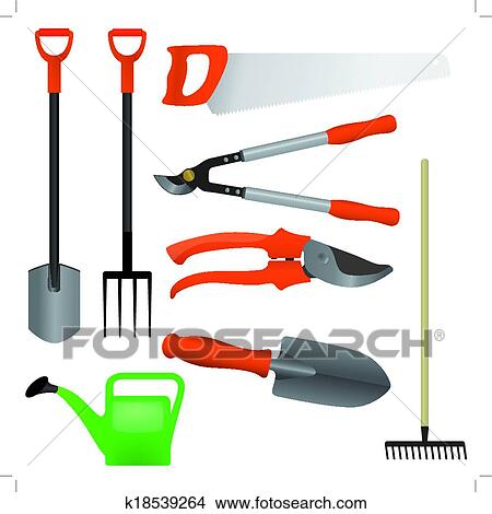 Clipart of collection of gardening tools vector k18539264 for Gardening tools clipart