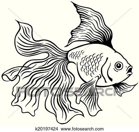 Black and white goldfish clipart