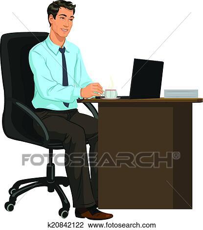 Clipart homme les bureau ordinateur portable for Bureau homme