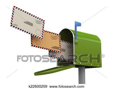 Stock Illustration of 3d envelopes going into mailbox k22600209 ...