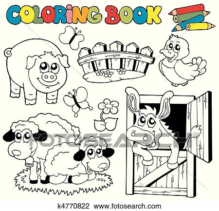 Clipart of Coloring book with farm animals 2 k4770822 - Search ...