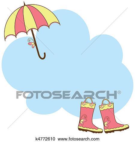Clipart - lindo, botas de lluvia, y, paraguas k4772610 - Buscar ...