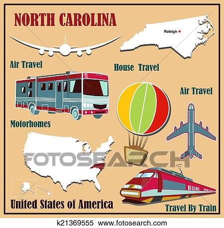 clipart flat map of north carolina in the u s for air travel by car and