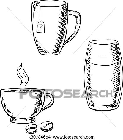 clipart tasse caf th et verre eau croquis k30784654 recherchez des clip arts des. Black Bedroom Furniture Sets. Home Design Ideas