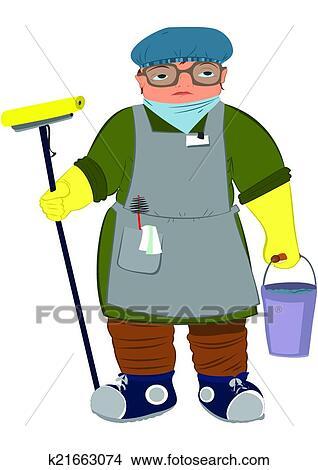 Clipart karikatur frau in gelb handschuhe mit for Boden clipart