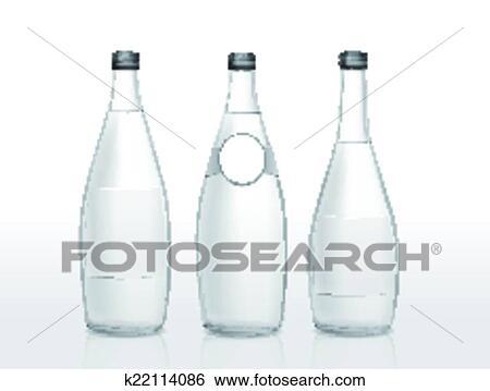 Glas leer clipart  Clip Art - glas flasche, mit, leer, etikett k22114086 - Suche ...