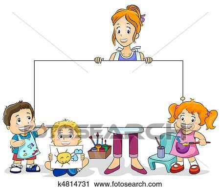 clipart malkurs f r kinder k4814731 suche clip art illustration wandbilder zeichnungen. Black Bedroom Furniture Sets. Home Design Ideas