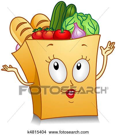 Clip Art Grocery Clipart stock illustration of grocery shopping u17493405 search clipart bag