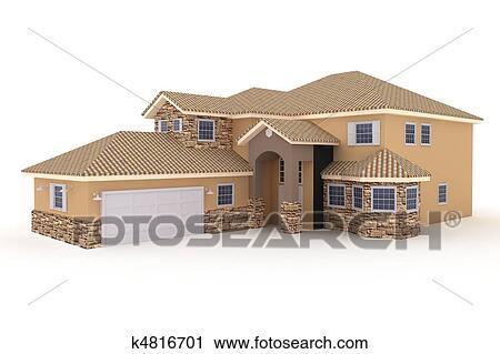 Haus bauen clipart  Clipart - 3d, haus, freigestellt, weiß k4816701 - Suche Clip Art ...