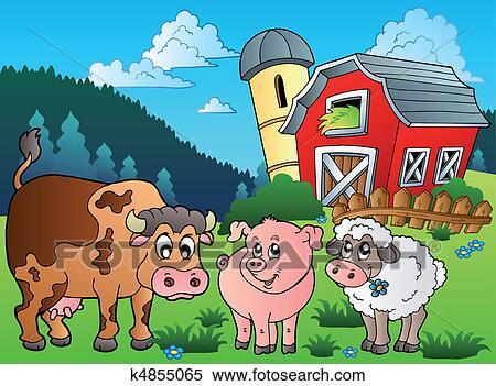 Clipart Of Three Farm Animals Near Barn K4855065