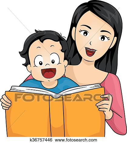 clip art of family mother read story book baby boy k36757446 rh fotosearch com story book clipart story book border clipart