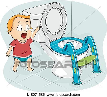 Clip Art Of Baby Flushing Toilet K18071586
