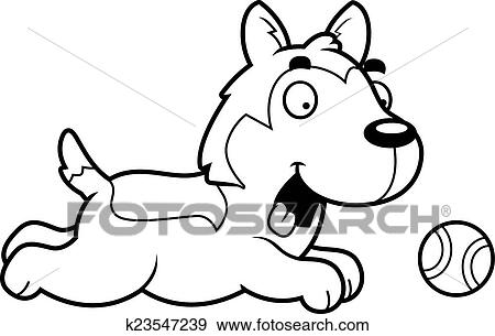 clip art of cartoon husky chasing ball k23547239 search clipart rh fotosearch com husky clipart free siberian husky clipart