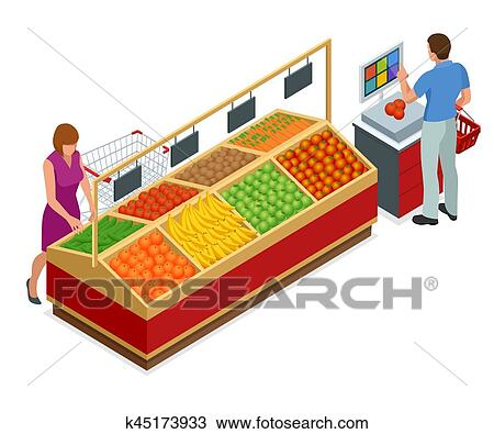 Clipart of Women and man shopping vegetables and fruits in