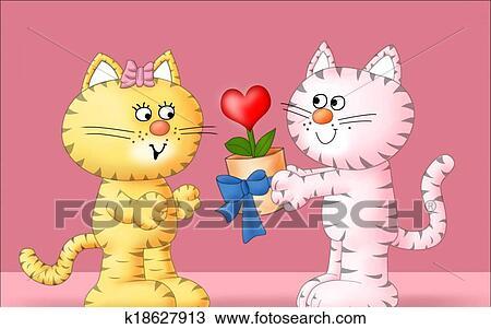 手绘图 - 猫, 在爱中图片