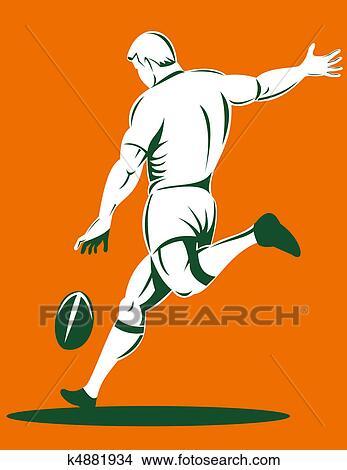 Dessins joueur rugby donner coup pied balle vue post rieure k4881934 recherche de clip - Dessin de joueur de rugby ...