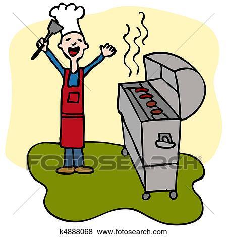 clip art k chenchef mann kochende grill grill k4888068 suche clipart poster. Black Bedroom Furniture Sets. Home Design Ideas