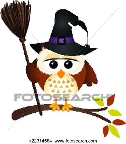 Clipart of Halloween owl with witch broom k22314584 - Search Clip ...