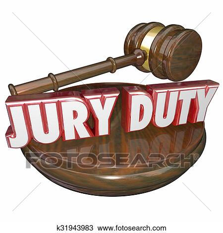 drawing of jury duty judge gavel court trial k31943983