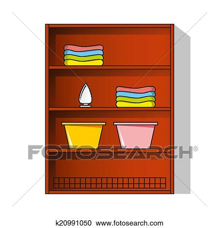 Wardrobe clipart  Clipart of Vector Linen cupboard, wardrobe with clothes k20991050 ...