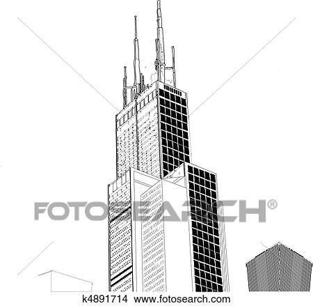 Clipart of Vector of Chicago Skyscraper k4891714 - Search ...
