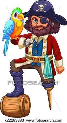 海盗和鹦鹉_剪贴画 - 海盗, 同时,, 鹦鹉