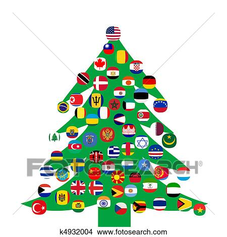 drawings of christmas tree with country flags k4932004