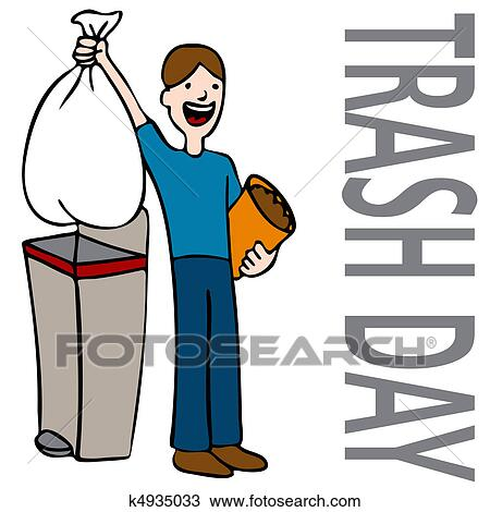 Clipart of Trash Day Man k4935033 - Search Clip Art ...