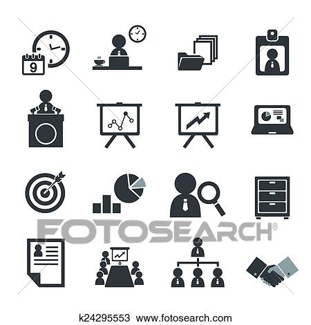 Clipart Of Organization And Business Management Icon Set K24295553