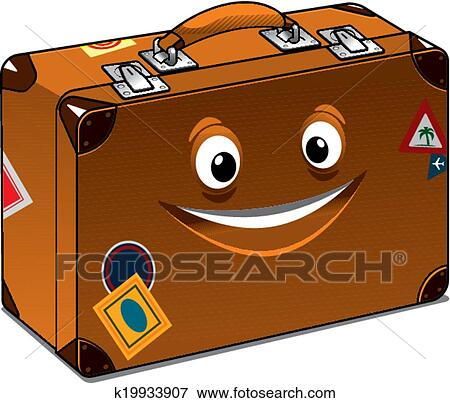 Clip Art of Happy travel brown leather suitcase k19933907 ...