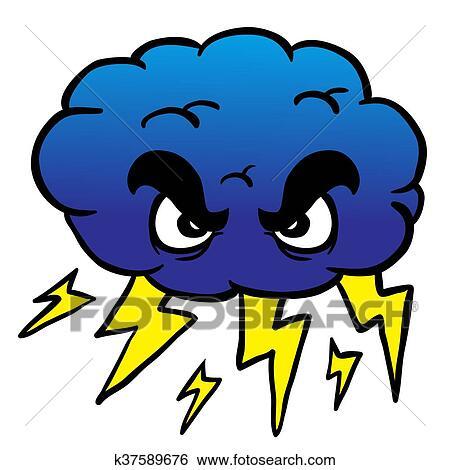 暴风雨云, 卡通漫画, 描述图片