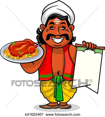 clip art of indian cook with menu and chicken curry rice k41625467 rh fotosearch com indian clipart wedding indian clipart to print