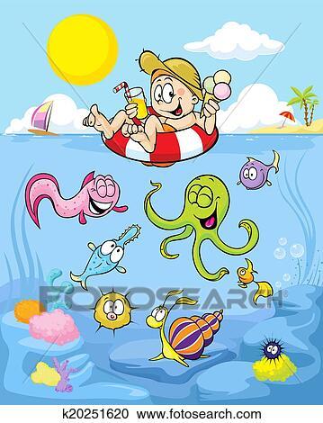 Clipart estate bene con divertente ragazzo spiaggia for Mare clipart