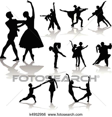 Clip Art of dancing couples silhouettes collection - vector ...