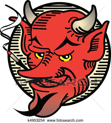 Clipart of Tattoo Design Smoking Devil Art k4953254 ...